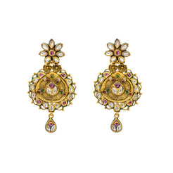 22K Yellow Gold Drop Earrings W/ Kundan & Vintage Design