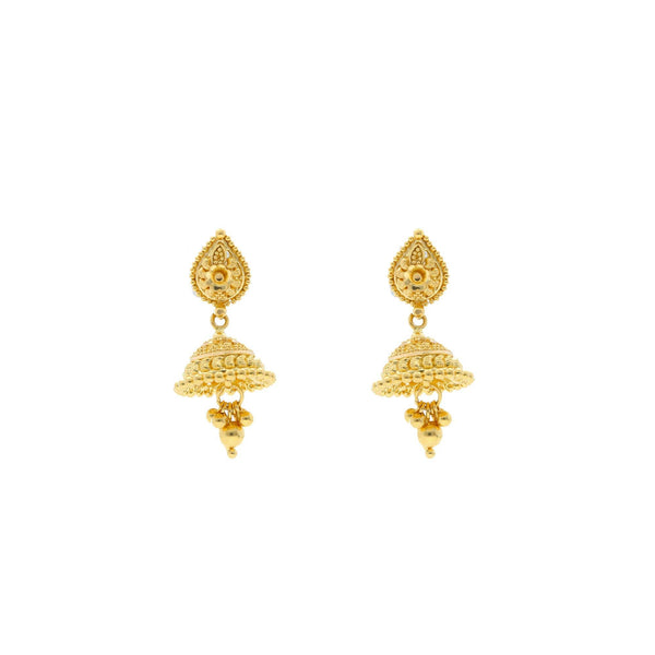 22K Yellow Gold Jhumki Drop Earrings W/ Detailed Dome & Cluster Gold Balls |     Sometimes your already chic look simply needs a hint of gold like this radiant 22K yellow gol...
