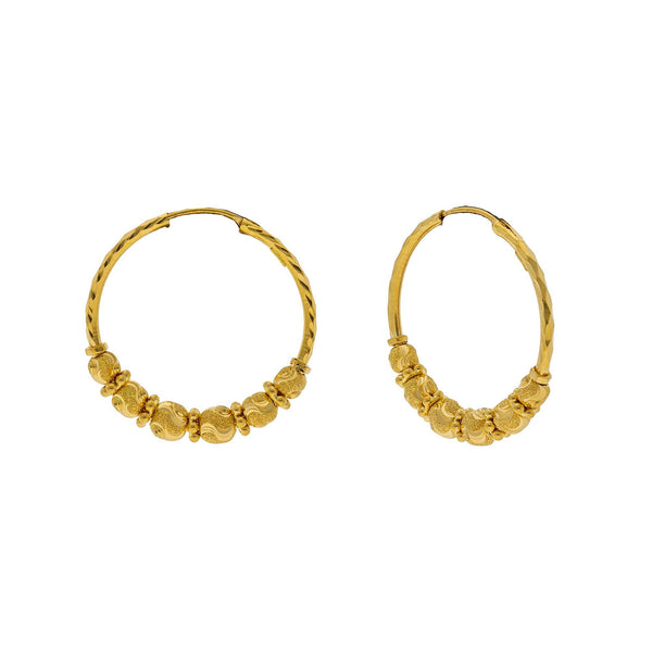 22K Yellow Gold Hoop Earrings W/ Swirl-Etched Gold Beads |    Be brilliant and luxurious bold with the splendor of fine gold jewelry like this pair of 22K y...