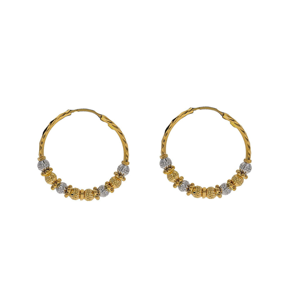 22K Multi Tone Gold Hoop Earrings W/ Gold Chiseled Bicone Beads |    Enjoy the lavish looks of textured design crafted into fine gold with jewelry like this pair o...