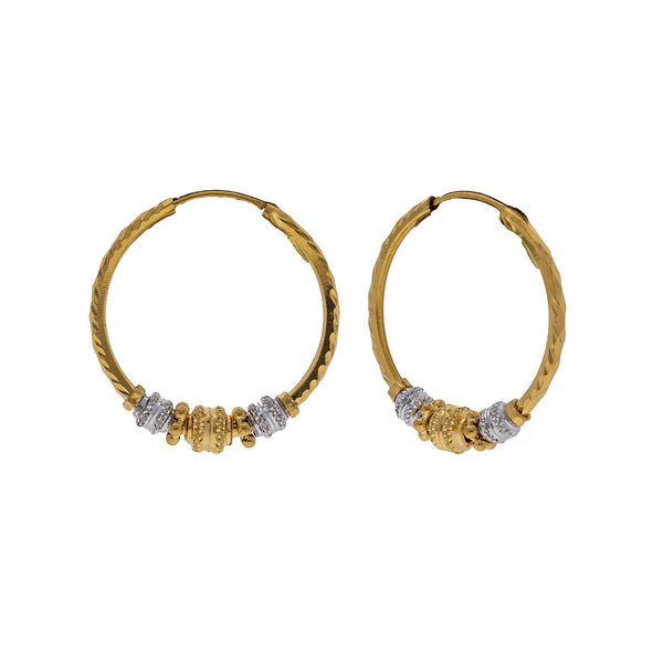 22K Multi Tone Gold Hoop Earrings W/ Laser Marked Gold Beads |    Be bright and bold with subtle hints of textured gold designs like this pair of 22K multi tone...