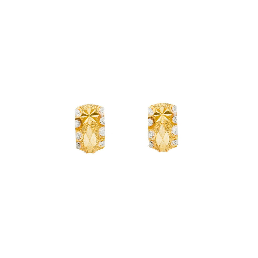 22K Multi Tone Gold Huggies Earrings W/ Floral Etched Designs |    Discover the beauty of etched floral designs with these gorgeous 22K multi tone gold huggie ho...