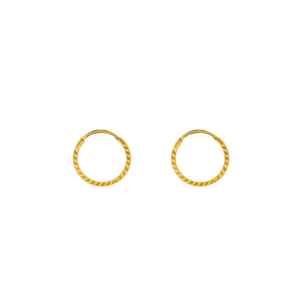 An image of the 22K gold hoops from Virani Jewlers with a hammered texture. | Accentuate your everyday look with these gorgeous 22K gold hoops from Virani Jewelers!  Features ...