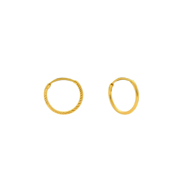 An image of two 22K gold earrings with a hammered design and an infinity closure from Virani Jewelers. | Complete your look with these 22K gold earrings from Virani Jewelers!  Features a hammered design...
