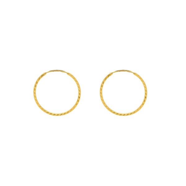 An image of 22K gold hoop earrings from Virani Jewelers. | Enhance your natural beauty with these gorgeous minimalist hoops from Virani Jewelers!  Made with...