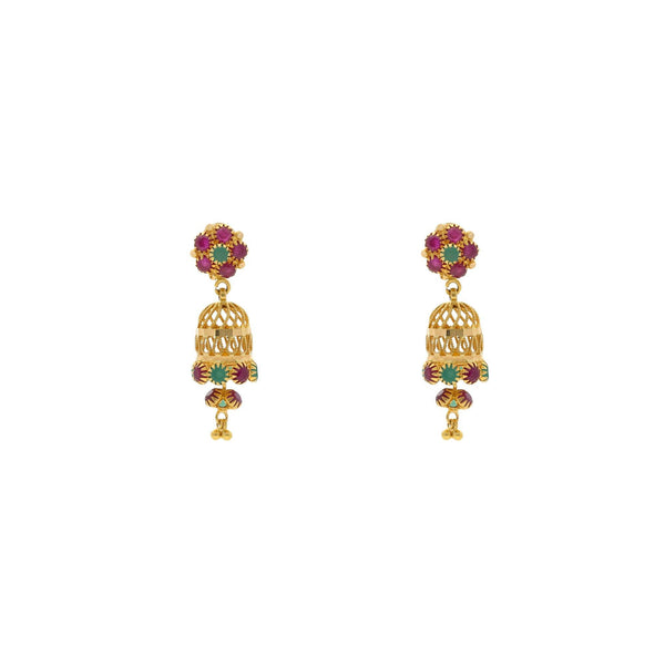 22K Yellow Gold Exotic Jhumka Drop Earrings W/ Emeralds & Rubies, 5.6 grams - Virani Jewelers |    Nothing can match the beauty and grace that a pair of traditional jhumakas can add to your ens...