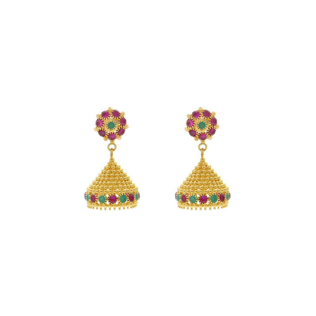 22K Yellow Gold Emerald & Ruby Jhumki Drop Earrings, 10.8 grams |    A shiny and tiny pair of earrings that goes with all types of clothes in your wardrobe and is ...