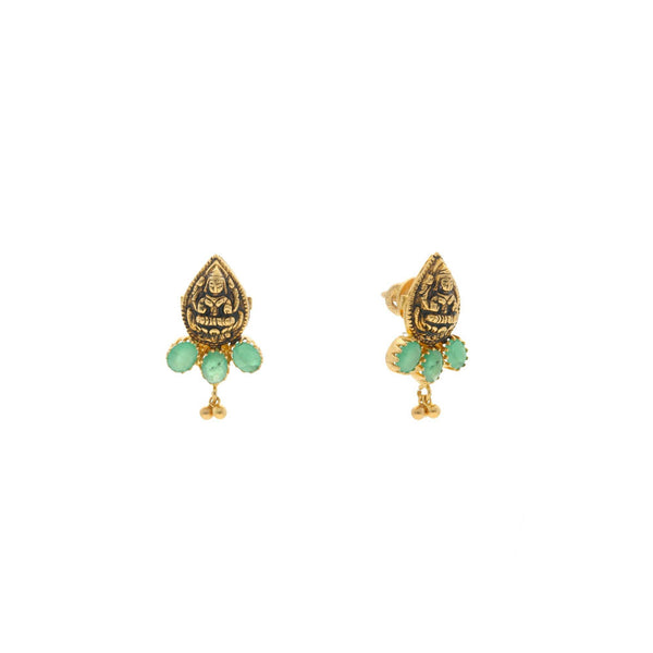 22K Yellow Gold Laxmi Earrings W/Emerald, 5.9 grams |    Nothing can match the beauty and grace that a pair of traditional jhumakas can add to your ens...