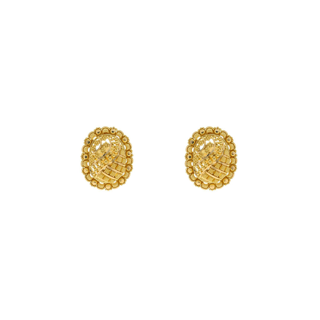 22K Yellow Gold Oval Shaped Stud Earrings, 5.9 grams |    Add a little fun to your every day by adding this tiny flame to your look; designed in fine ye...