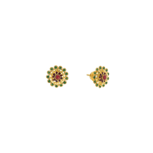22K Yellow Gold Stud Earrings Finely Deatiled W/ Emerald & Rubies, 4.2 grams |    This 22K yellow gold earrings with the fine design looks very aesthetic and appealing and is f...