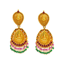 22K Yellow Gold Earrings W/ Rubies, Emeralds & Laxmi Pendant