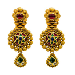22K Yellow Gold Earrings W/ Rubies, Emeralds, Sapphires & Heavy Layered Design
