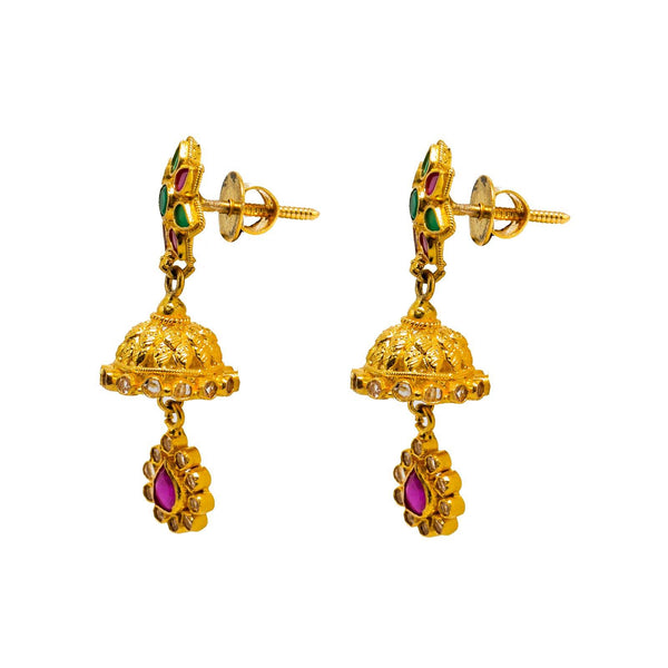 22K Yellow Gold Jhumki Earrings W/ Rubies, Emeralds, CZ Gems & Ornate Flower Designs |  22K Yellow Gold Jhumki Earrings W/ Rubies, Emeralds, CZ Gems & Ornate Flower Designs for wom...