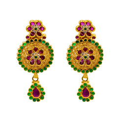 22K Yellow Gold Earrings W/ Rubies, Emeralds, CZ Gems & Round Floral Pendant