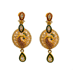 22K Yellow Gold Drop Earrings W/ Rubies, Emeralds, Sapphires, CZ Gems & Round Peacock Pendant