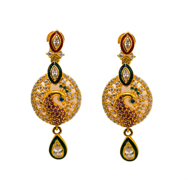 22K Yellow Gold Drop Earrings W/ Rubies, Emeralds, Sapphires, CZ Gems & Round Peacock Pendant |  22K Yellow Gold Drop Earrings W/ Rubies, Emeralds, Sapphires, CZ Gems & Round Peacock Pendan...