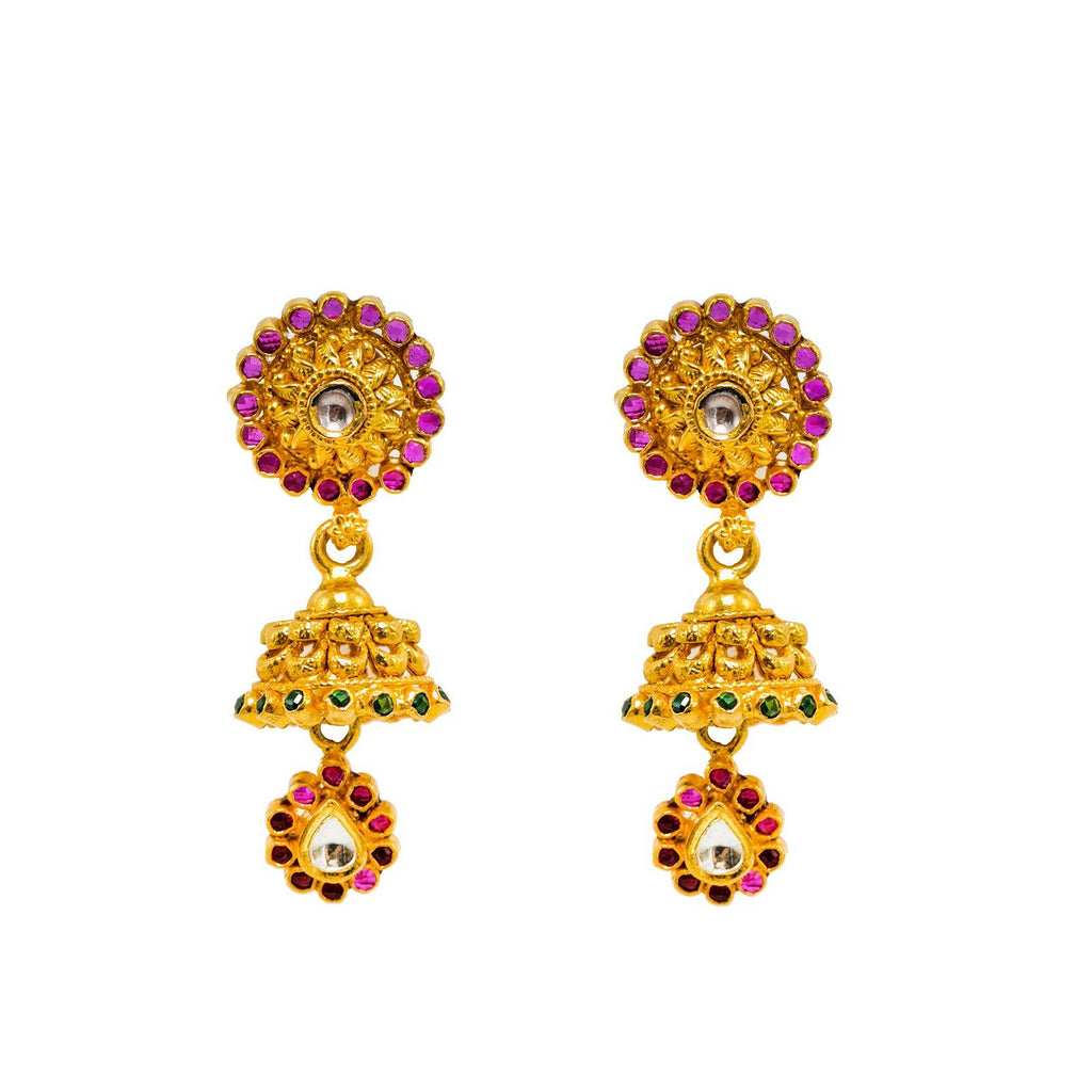 22K Yellow Gold Jhumki Earrings Earrings W/ Rubies, Emeralds, Kundan & Loop Detailed Drops |  22K Yellow Gold Jhumki Earrings Earrings W/ Rubies, Emeralds, Kundan & Loop Detailed Drops f...
