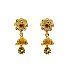 "22K Yellow Gold Jhumki Earrings Earrings W/ Rubies, Emeralds, Kundan & ""White"" Flower Accent"