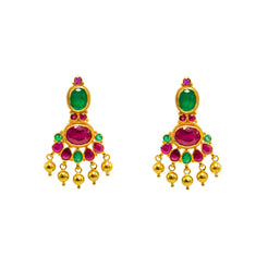 22K Yellow Gold Earrings W/ Rubies, Emeralds & Petite Chandelier Design