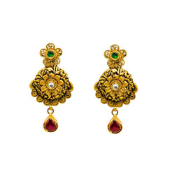 22K Yellow Gold Earrings W/ Rubies, Emeralds, Kundan & Antique Finished Engraved Pendant