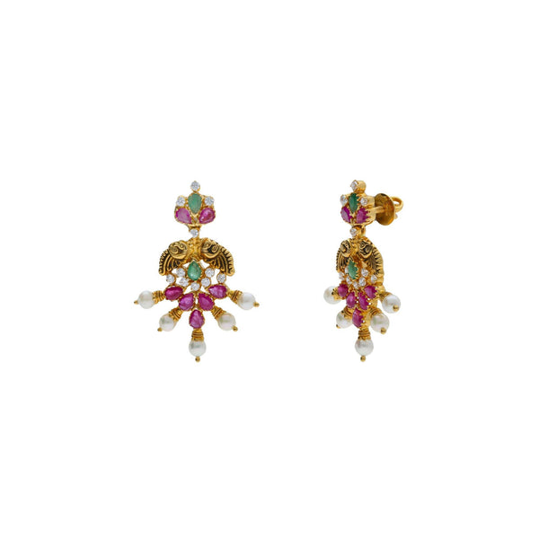 22K Yellow Antique Gold Starburst Earrings W/ Emeralds, Rubies, CZ & Pearls |    Be bold in your choice of fine jewelry with designs that are sure to illuminate your formal at...