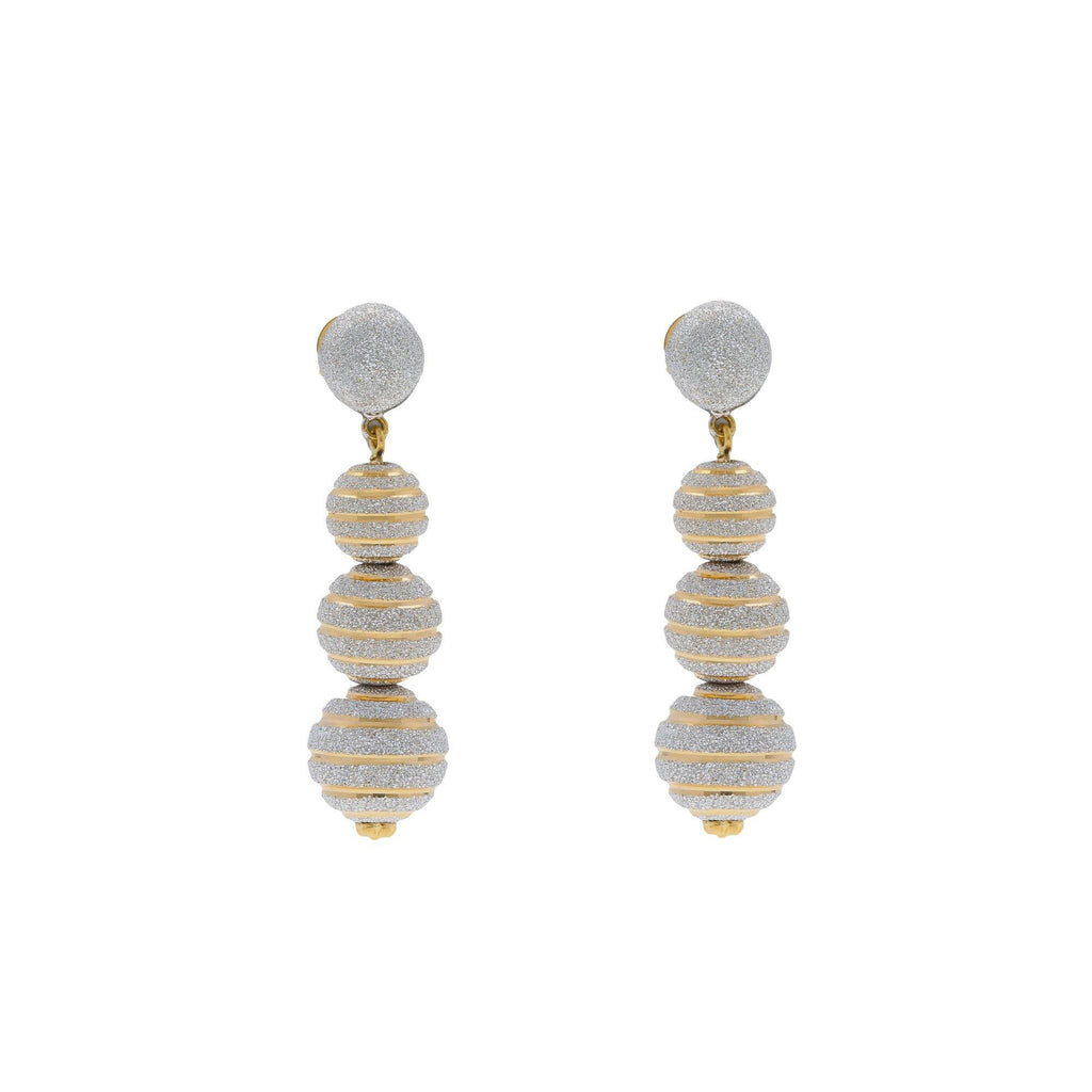 22K Multi Tone Gold Ball Drop Earrings W/ Glass Blast Textured Designs |    Elongate your neckline with the lengthy designs of fine gold jewelry such as this most elegant...