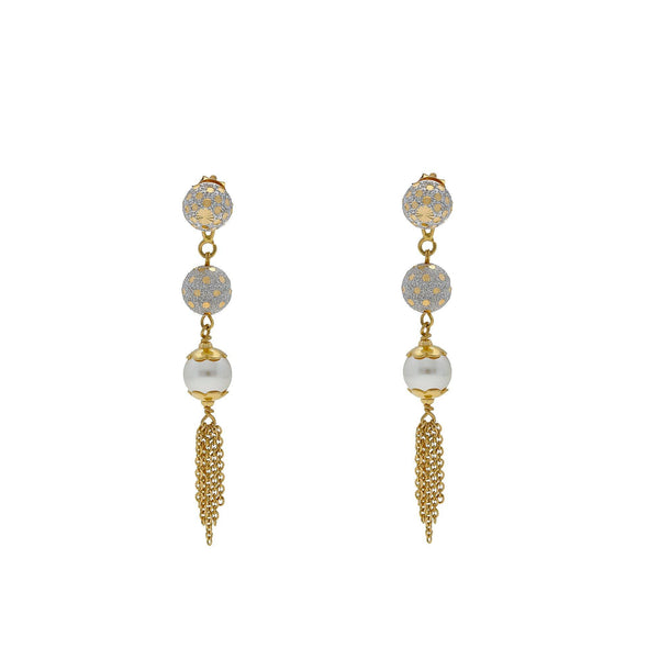 22K Multi Tone Gold Drop Earrings W/ Pearls, Gold Balls & Tassel Accents |    Grace your favorite formal and dressy looks with the elegance of gold and pearls like this pai...