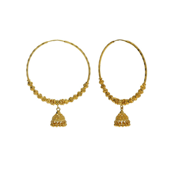 22K Yellow Gold Hoop Earrings W/ Jhumki Drops & Cubed Shambala Beads |    Build your elegant wardrobe with the seamless designs of unique fine gold and intricate accent...
