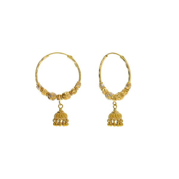 22K Multi Tone Gold Hoop Earrings W/ Cubed Gold Beads & Jhumki Drops |    Explore the creative designs that are composed of blended elements such as this uniquely ornat...