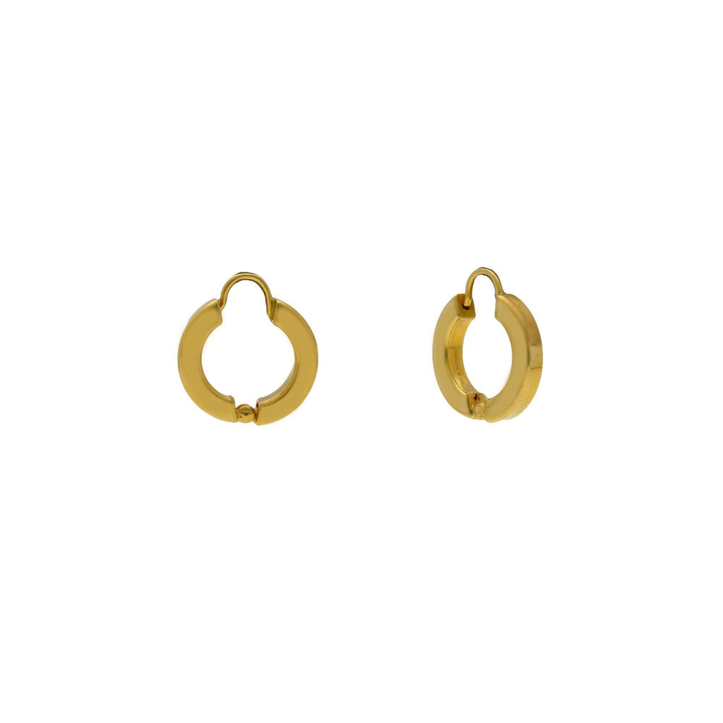 22K Yellow Gold Mini Hoop Earrings W/ Center Gold Ball |    Be bold in your minimal jewelry designs like this petite pair of 22K yellow gold mini hoops fr...