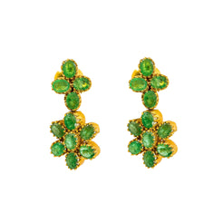 22K Yellow Gold Earrings W/ Prong Set Emeralds & Double Flower Pendants