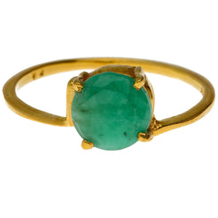 22K Yellow Gold & Emerald Ring (Size 6.1)