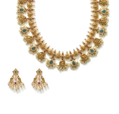 22K Yellow Gold Guttapusalu Necklace & Earrings Set W/ Pearls, Rubies, Emeralds, CZ Polki & Lord Ganesh Accents