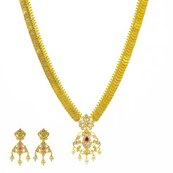 An image of the Priscilla Kasu 22K gold necklace set from Virani Jewelers.