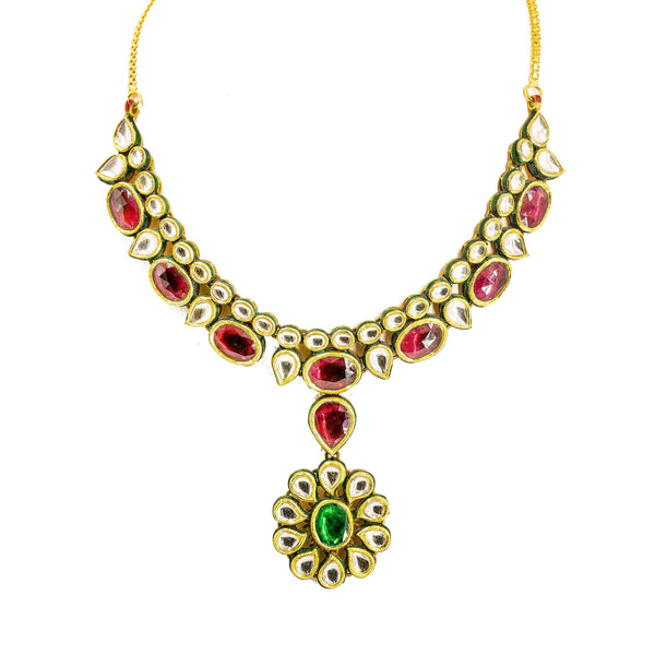 22K Yellow Gold Kundan Necklace & Earrings Set W/ Ornate Pendants & Mango Accents on Collar Necklace |  22K Yellow Gold Kundan Necklace & Earrings Set W/ Ornate Pendants & Mango Accents on Col...