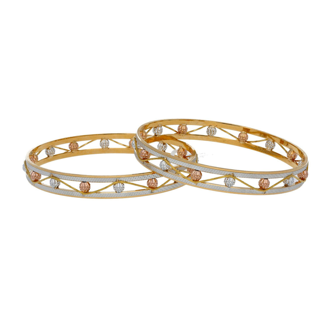 22K Multi Tone Gold Laser Bangles Set of 2 W/ Open Band & Patterned Accent Gold Balls - Virani Jewelers |     Add a bit of whimsical design to the radiance of brilliant gold colors like this 22K multi to...
