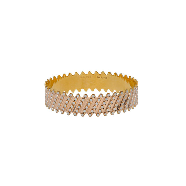 22K Multi Tone Gold Laser Bangles Set of 2 W/ Diagonal Diamond Cutting Accents |     Be boldly embellished with the radiance of the finest blend of gold with this set of 22K mult...