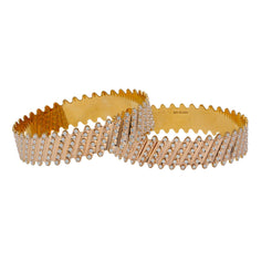 22K Multi Tone Gold Laser Bangles Set of 2 W/ Diagonal Diamond Cutting Accents
