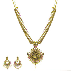 An image of the Haathee Laxmi 22K gold necklace set from Virani Jewelers.