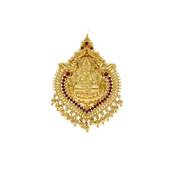 22K Yellow Gold Laxmi Pendant W/ Rubies & Drop Gold Balls