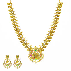 An image of the Anjali 22K gold necklace set from Virani Jewelers.