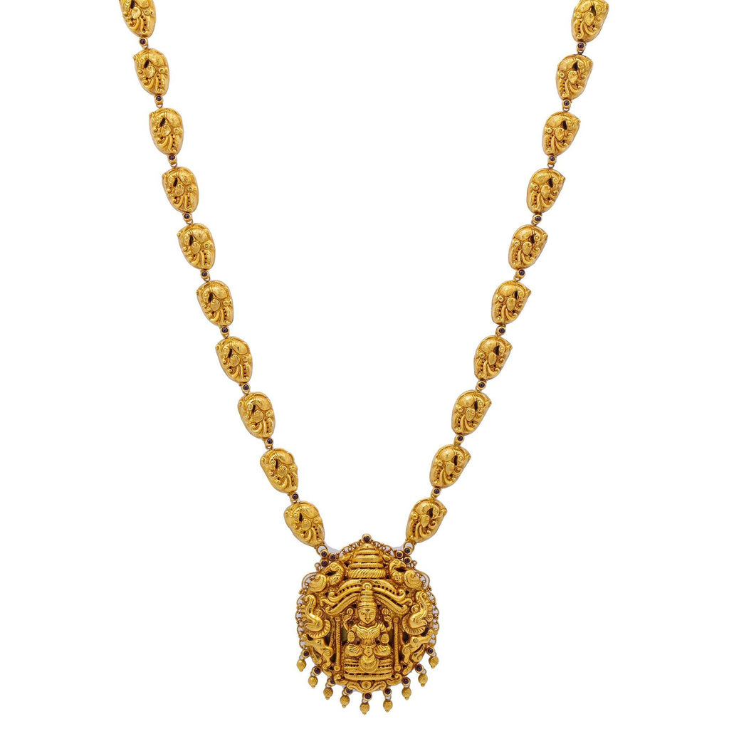 An image of the 22K gold Vilina Laxmi necklace from Virani Jewelers. | Turn heads at your next special event with this beautiful 22K gold necklace from Virani Jewelers!...