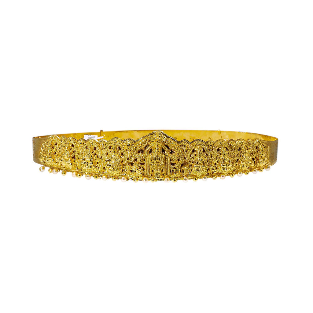 22K Yellow Gold Laxmi Vaddanam Waist Belt W/ Adjustable Belt & Pearls | Add movement and luxury to your most festive looks with Vaddanam waist belts that will transform ...