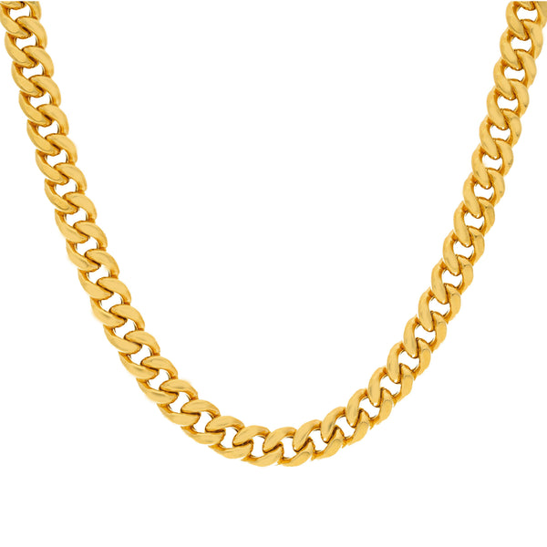 A closeup image showing the Cuban links on the 22K gold chain from Virani Jewelers. | Make a masculine statement without going over the top with this gorgeous 22K gold Cuban link chai...