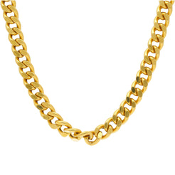 22K Yellow Gold Men's Cuban Link Chain W/ Satin Finish, 87.5 Grams
