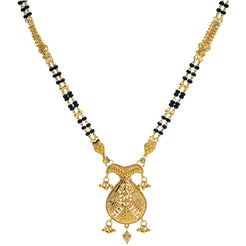 An image of a double-stranded gold Indian necklace with a large pendant from Virani Jewelers
