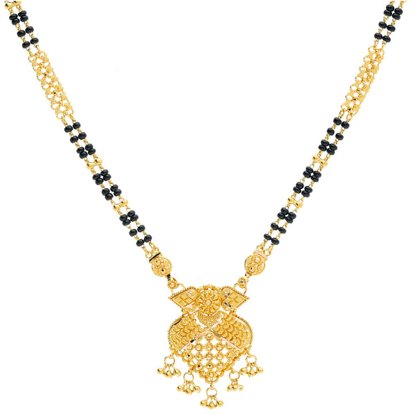 An image of an Indian necklace with a 22K gold pendant crafted by Virani Jewelers | The detailed and unique design on this double-stranded, 22K yellow gold necklace from Virani Jewe...