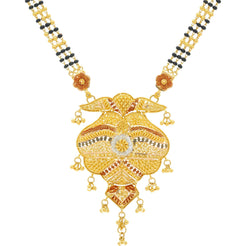 22K Gold Mangalsutra Black Beads Chain, Length 32inches