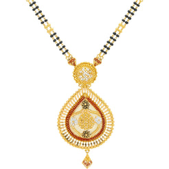 22K Gold Mangalsutra Black Beads Chain, Length 30inches