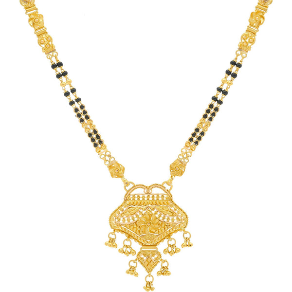 22K Gold Mangalsutra Black Beads Chain, Length 30inches |    Power up your newlywed look with a hint of sparkle; the 22K yellow gold mangalsutra chain with...
